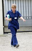 A nurse leaves the home of Chantelle Houghton...