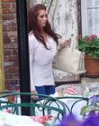 Amy Childs leaves The Ivy on Robertson Boulevard...