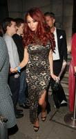 Amy Childs and David Peters leaving Aura nightclub...