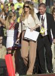 Erin Andrews at the Rose Bowl wearing taupe...
