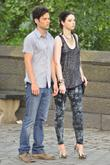 Penn Badgley and Michelle Trachtenburg filming the new...