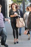 Gina Carano  visits a Starbucks cafe Beverly...