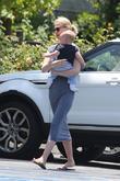 Actress January Jones seen carrying son Xander in...