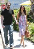 Jordana Brewster and husband Andrew Form leaving a...
