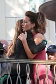 Kate Beckinsale films an appearance with Maria Menounos...