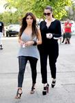 Kim Kardashian and Khloe Kardashian  leaving a...