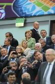 German Chancellor Andrea Merkel and UEFA President Michel...