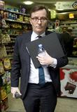 Sky News chief John Riley leaves a newsagent...