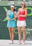Agnieszka Radwanska and Maria Sha (right) at the...