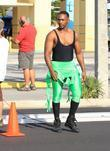 Anthony Mackie on the set of 'Pain and...