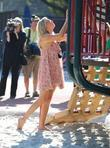 Penny Lancaster films in Coldwater Canyon Park Los...