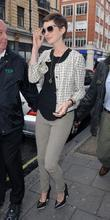 Anne Hathaway leaving the BBC Radio 1 studios...