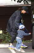Sandra Bullock collecting her son Louis from school...