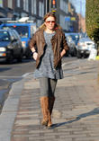 Brown Leather Jacket, Pigtails, Bunches, Boucle Dress, Grey Tights, Sunglasses and Brown Boots