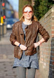 Brown Leather Jacket, Pigtails, Bunches, Boucle Dress, Grey Tights and Sunglasses