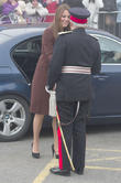Kate Middleton, Catherine, Duchess Of Cambridge, Royal, Princess, Pregnant, Burgundy, Coat, Visit, Clutch Bag and Military Officer