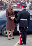 Kate Middleton, Catherine, duchess of Cambridge, royal, princess, pregnant, burgundy, coat, visit, clutch bag, military officer, Fishing Heritage Centre