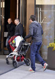 brian austin green walks his baby son noah into the 040413