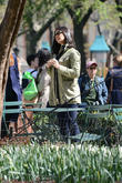 Filming scenes for 'Newsroom' at Madison Square Park in Manhattan