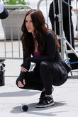Megan Fox Has A Trampoline Session On The Set Of 'Teenage Mutant Ninja Turtles' With Will Arnett [Photos]