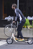 hugh jackman seen riding a scooter 200513