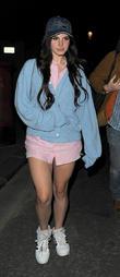 Lana Del Rey, pink shirt, cardigan, jumper, Hollywood baseball cap, trainers, sneakers and handbag