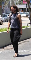 Russell Brand seen leaving the Earth Bar