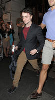 Daniel Radcliffe leaves the Noel Coward Theatre, having performed in 'The Cripple Of Inishmaan'