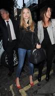 Amanda Seyfried arriving at Yauatcha restaurant in Soho