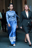 Aung San Suu Kyi (l) and Justine Greening (r)