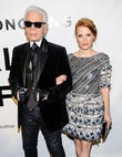 Jessica Chastain and Karl Lagerfeld