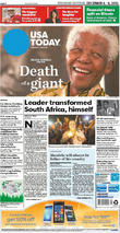 Front Pages From Around, The World, Nelson Mandela Dies