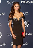 Nina Dobrev, Oasis Courtyard at the Beverly Hilton Hotel, Golden Globe Awards, Beverly Hilton Hotel