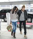 Zoe Saldana, marco perego, JFK Airport Terminal 8