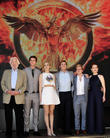 Donald Sutherland, Liam Hemsworth, Jennifer Lawrence, Josh Hutcherson, Sam Claflin and Julianne Moore