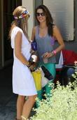 Alessandra Ambrosio watches daughter sell lemonade
