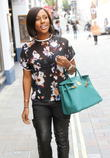 Alexandra Burke arriving for a meeting
