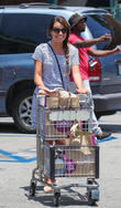 Lea Michele goes grocery shopping in sunglasses and a black and white stripped dress