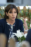 Anne Hidalgo attends a press conference at the French Institute of Madrid