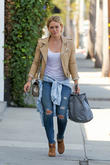 Hilary Duff grabs an iced tea while out in Beverly Hills