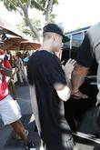 Justin Bieber leaves Il Pastaio restaurant
