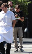 Zac Efron on the set of his upcoming movie 'We Are Your Friends', currently filming in Studio City