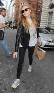 Clara Paget leaving her hotel
