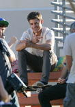 Actor Zac Efron filming a scene for his new movie 'We Are Your Friends'