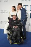 Felicity Jones, Jane Hawking, Eddie Redmayne and Stephen Hawking