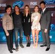 (L-R) Businessman/American Idol mentor Scott Borchetta, singers Keith Urban, Jennifer Lopez and Harry Connick Jr