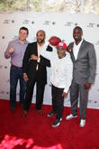 (l-r) Chris Snee, David Tyree, Spike Lee and Plaxico Burress