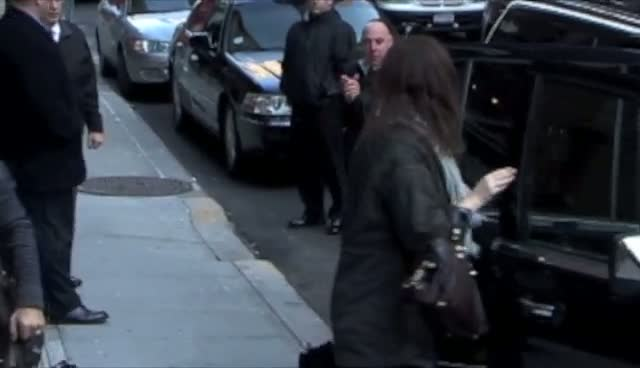 Charlize Theron Arrives At Late Show With David Letterman