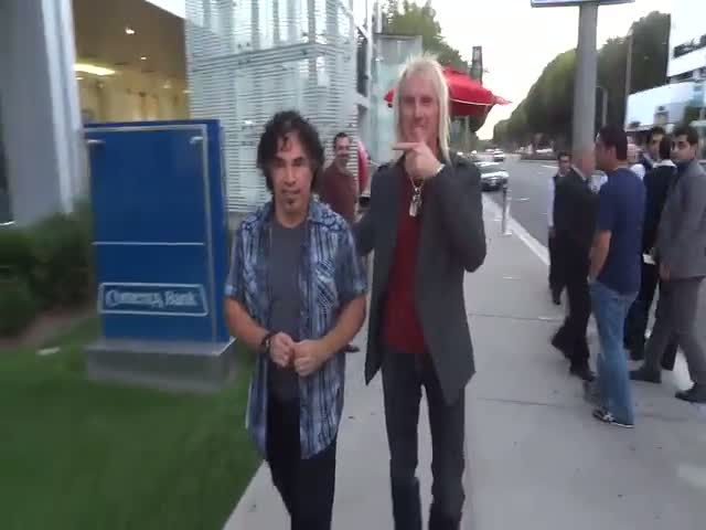 John Oates Arrives At Boa Steakhouse With A Friend