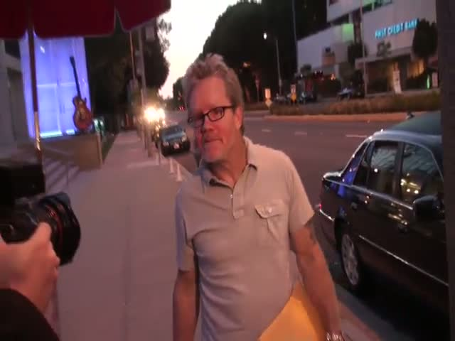 Boxer Manny Pacquiao's trainer Freddie Roach arriving at Boa Steakhouse